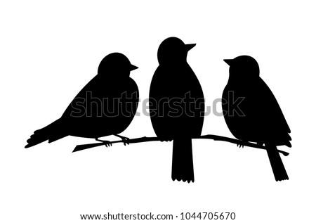 three birds on a branch black