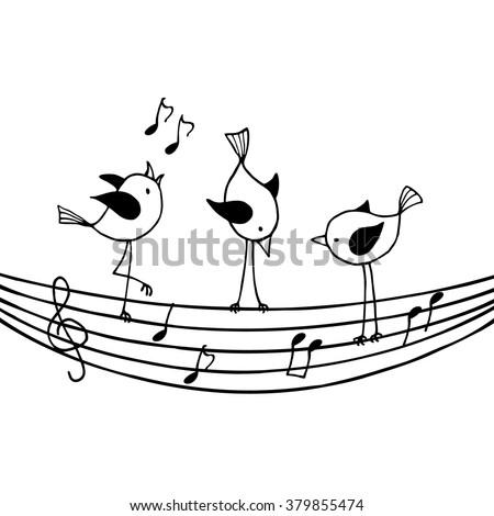 three birds on the stave