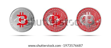 Three Bitcoin crypto coins with the flag of Turkey. Money of the future. Modern cryptocurrency vector illustration