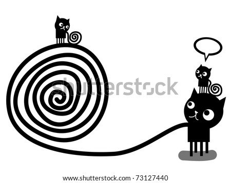 Three black cats with tails of spirals
