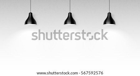 three black ceiling lamps