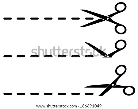 three black scissors and cut lines set on white background