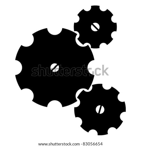Three black sketchy gear wheels on a white background (EPS 8)