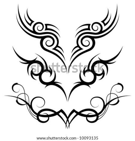 three black tribal tattoo motive on white background - stock vector