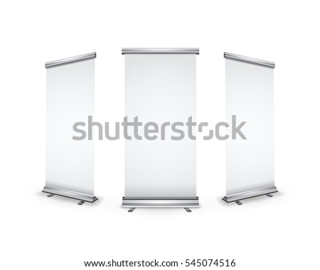 Three blank realistic roll-up banners with shadow isolated on white