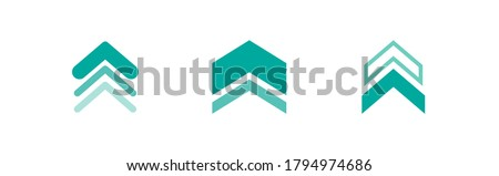 three blue squared arrows up icon. swipe up buttons set.  Isolated on white. Upload icon.  Upgrade, speed up sign. North pointing arrow. Foto stock ©