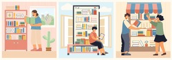 Three book flat icon set with home reading online book store and store at the city vector illustration