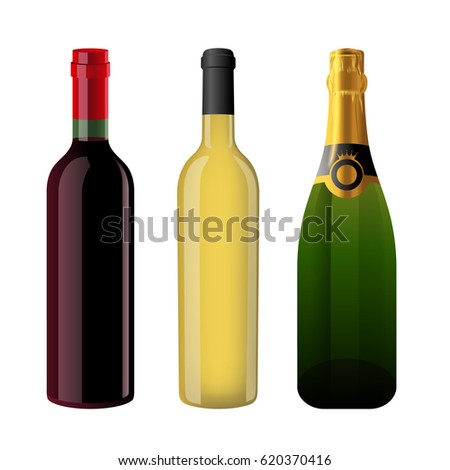 Three bottles of alcohol, wine and champagne #620370416