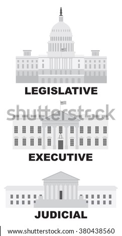 Three Branches of United States Government Legislative Executive Judicial Buildings Grayscale Vector Illustration