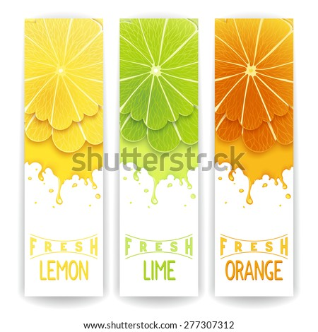 Three bright banner with stylized citrus fruit and splashes. Lemon, lime and orange fresh juice