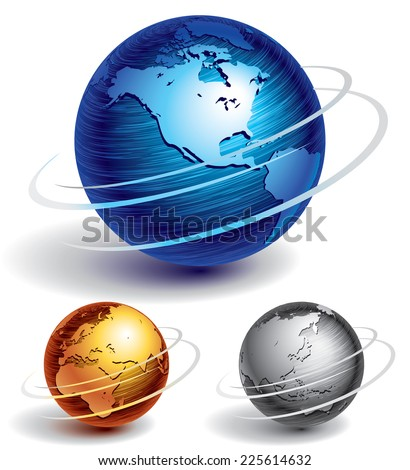 Three brushed metal globes. Eps8. CMYK. Organized by layers. Global colors. Gradients used. Foto stock ©