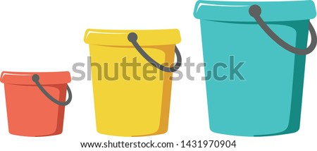 Three buckets on a white background red, yellow and blue Сток-фото ©