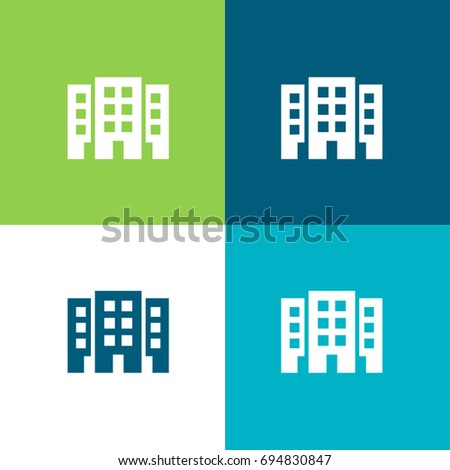 Three buildings green and blue material color minimal icon or logo design