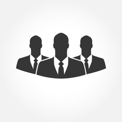 Three businessman silhouettes  - vector icon