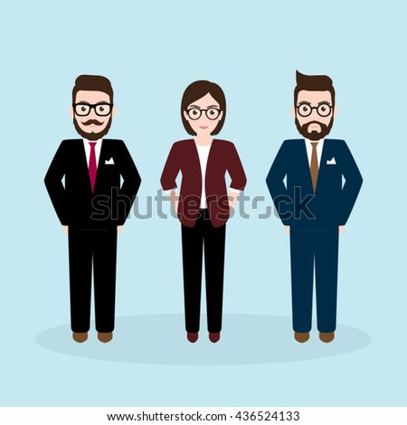 Three Businesspeople Character , Hipster Businessman and Businesswoman Team