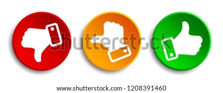 Three button with white valuation thumbs - stock vector