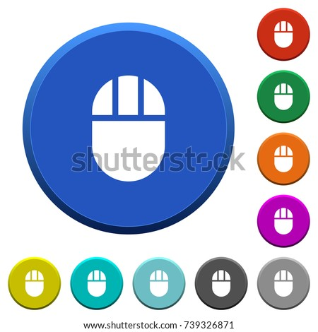 Three buttoned computer mouse round color beveled buttons with smooth surfaces and flat white icons