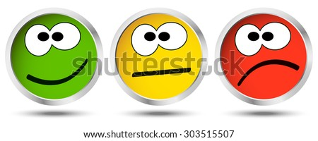 three buttons with happy
