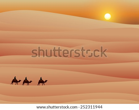 three camel in desert with