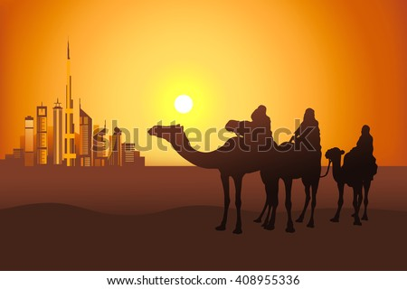 three camel riders at the