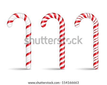 Three candy canes on white background, vector eps10 illustration