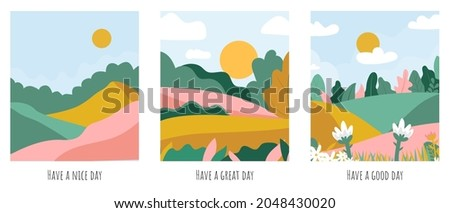 three cards with illustration