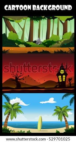 three cartoon backgrounds of