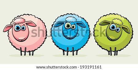 three cartoon funny sheep with