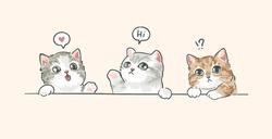 three cartoon little kitten illustration