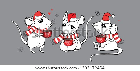 3efa7c7d2f207 Three Cartoon Little white Mouses in a striped scarf