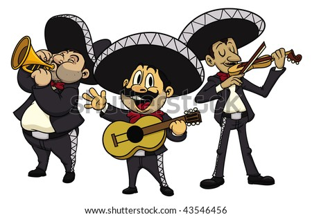 three cartoon mariachis  all in