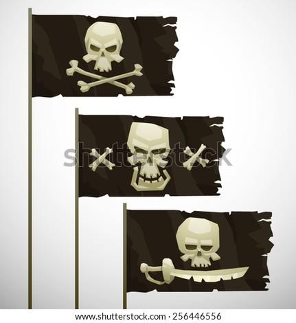 three cartoon pirate flags