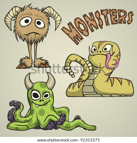 Three cartoon styled monsters with a comical look, no gradients other than the background.