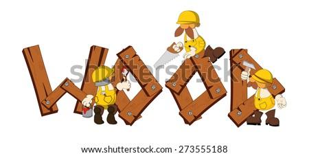 three cartoon working men with