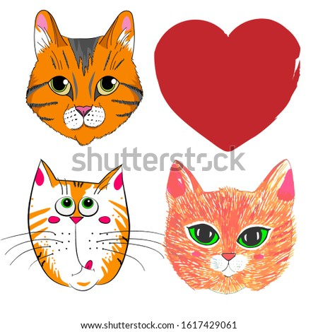 three cat faces and a red heart