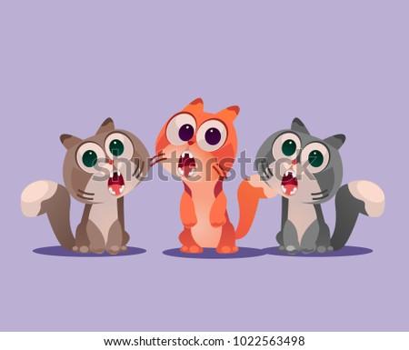 three cats sing song vector