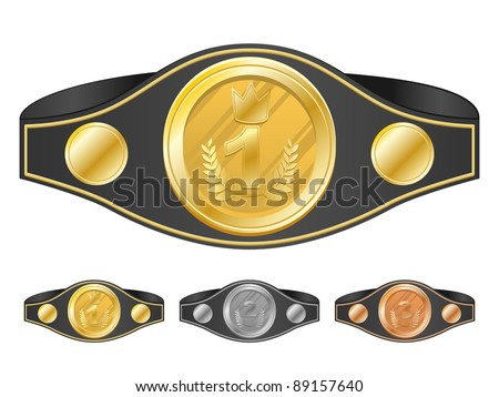 Three champion belts. Vector illustration.
