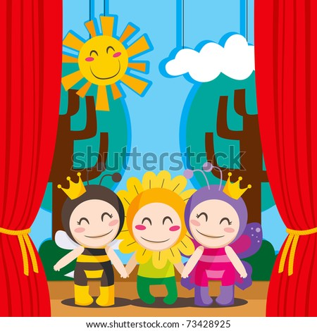 Three children in costumes performing a theater play on stage