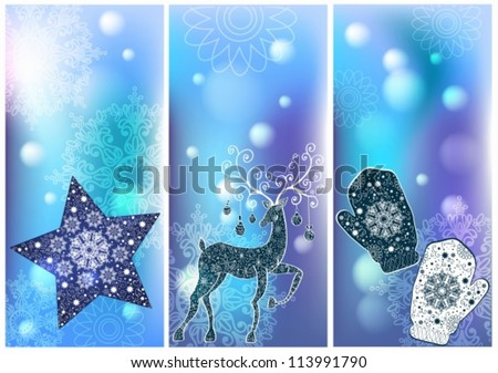 Three Christmas cards for your holiday design, vector
