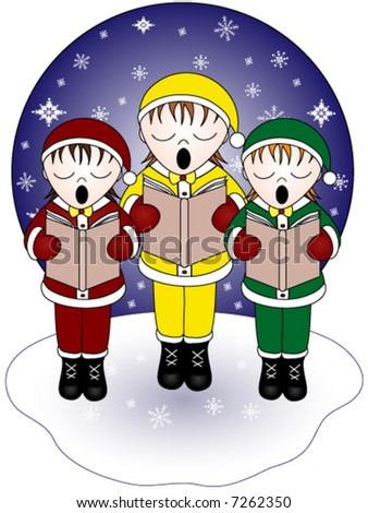 Three christmas carolers singing in the snow, vector.
