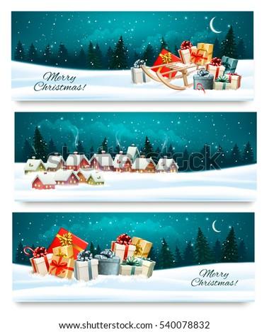 three christmas festive banners