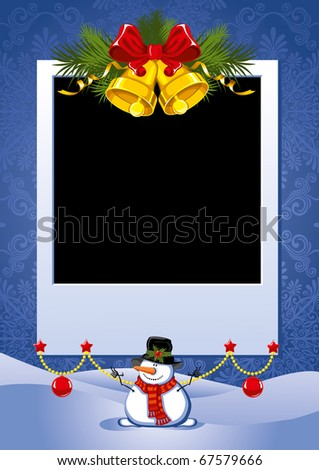 Three Christmas Photo Frame with golden bells and snowman