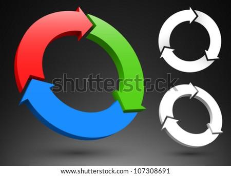 Three circular arrows 3D logos.