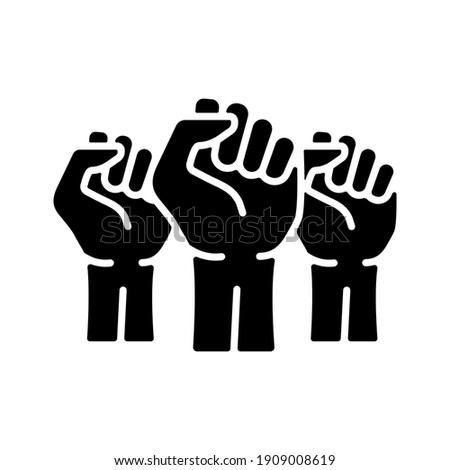 Three clenched fists raised in protest vector glyph icon. Protest, strength, freedom, revolution, rebel, revolt concept Stock photo ©