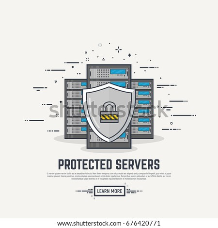 Three cloud servers. Thick lines and flat style illustration. Server with display and abstract lines. Protection concept. Shield and padlock.