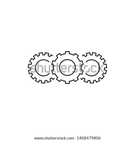 Three Cogwheels linear icon. Cogwheel concept symbol design. Thin graphic elements vector illustration, isolated on white background.