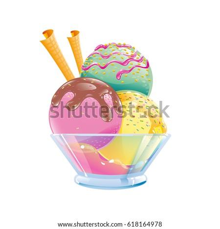 three color ice cream with