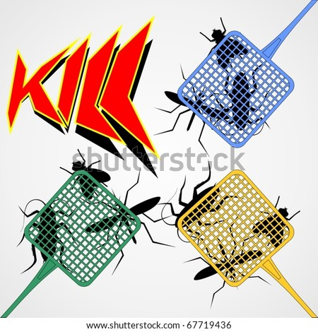 Three color palettes trapping insects - stock vector