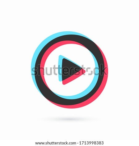Three-color round play button. Social media concept. Blogging. Streaming. Stories. Web element. Vector illustration Stock fotó ©