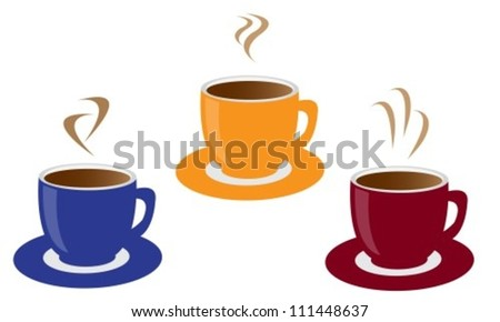 three colored cups of coffee and steam